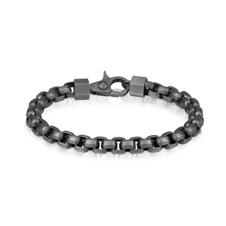 Men's Matte Black Round Box Link Steel Bracelet (MVA0064)