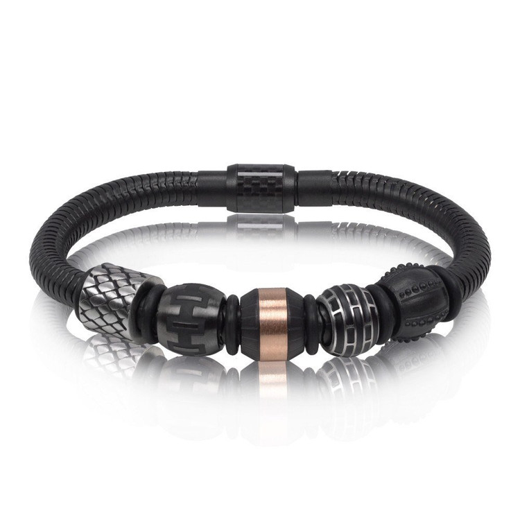 Men's Black Snake Carbon Fiber Beads Steel Bracelet (MVA0065)