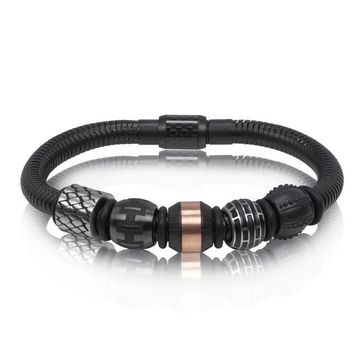 Men's Black Snake Carbon Fiber Beads Steel Bracelet (MVA0065)