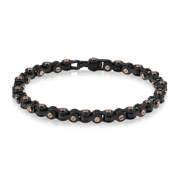 Men's Black & Rose Gold Steel Bracelet (MVA0070)