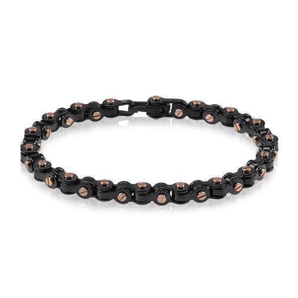 Men's Black & Rose Gold Steel Bracelet (MVA0070)