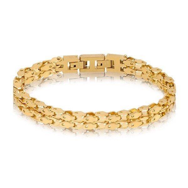 Men's Double Row Gold Link Steel Bracelet (MVA0073)