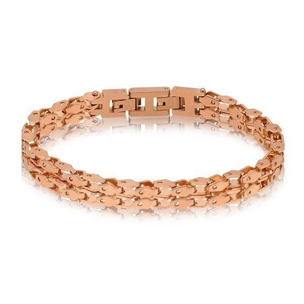 Men's Double Row Rose Gold Link Steel Bracelet (MVA0074)