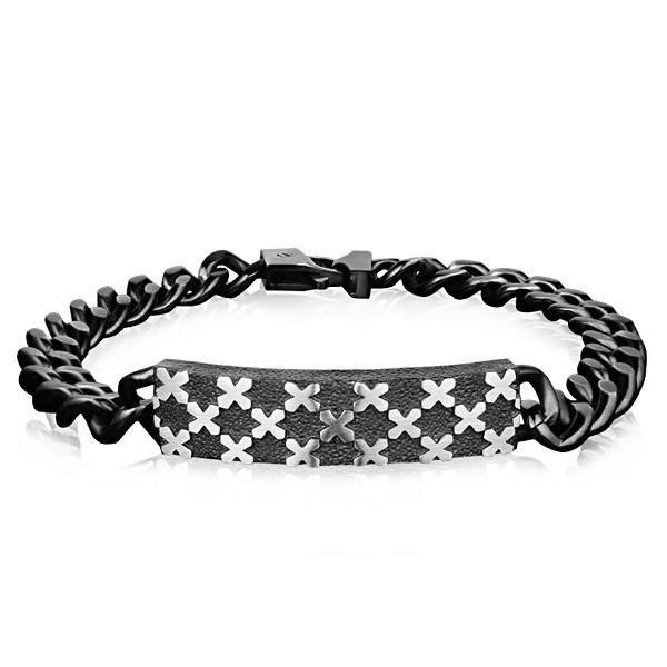 "Men's Black Steel ""X"" Design Cuban Link Bracelet (MVA0082)"