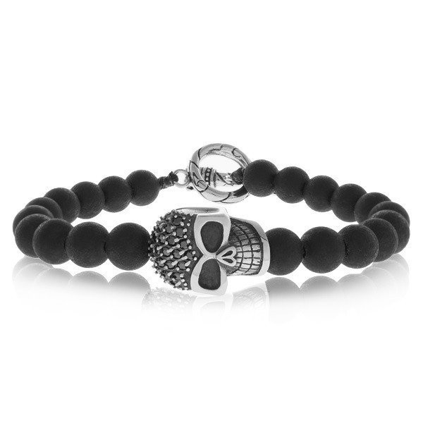 Men's 8mm MatteOnyx Skull Steel Bracelet (MVA0092)