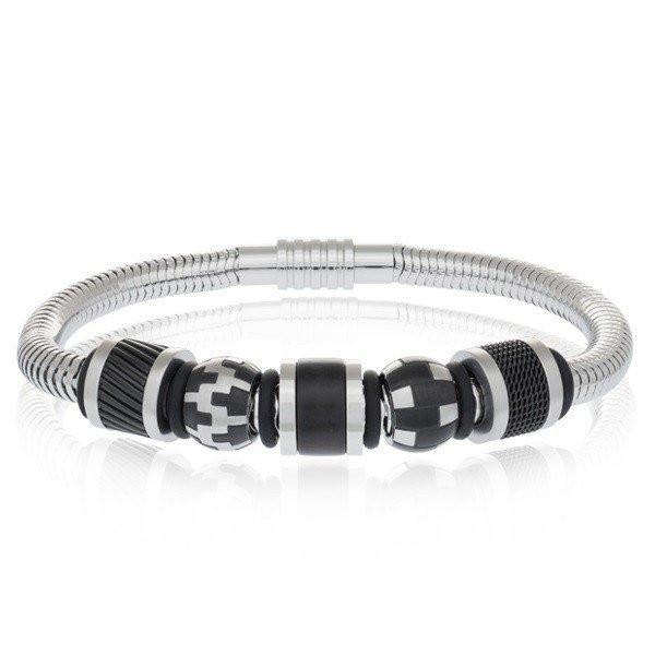 Men's Steel Snake Style Bead Bracelet (MVA0095)
