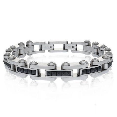 Men's Steel Black Ceramic Studs Bracelet (MVA0096)
