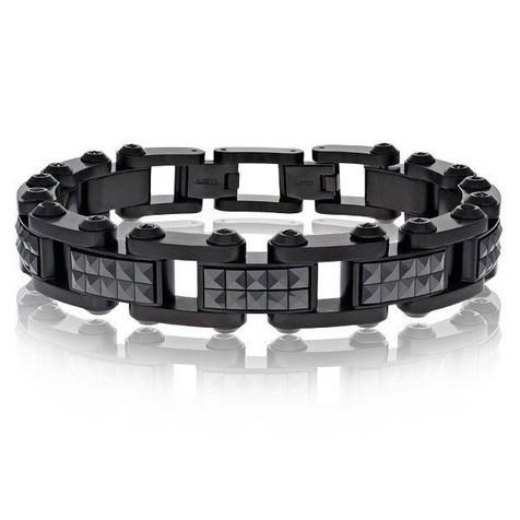 Men's Black Steel Ceramic Studs Bracelet (MVA0097)