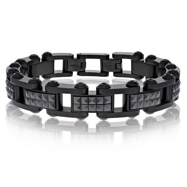 Men's Black Steel Ceramic Studs Bracelet (MVA0097)