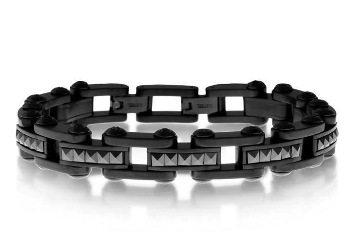 Men's Black Steel Ceramic Studs Bracelet (MVA0098)