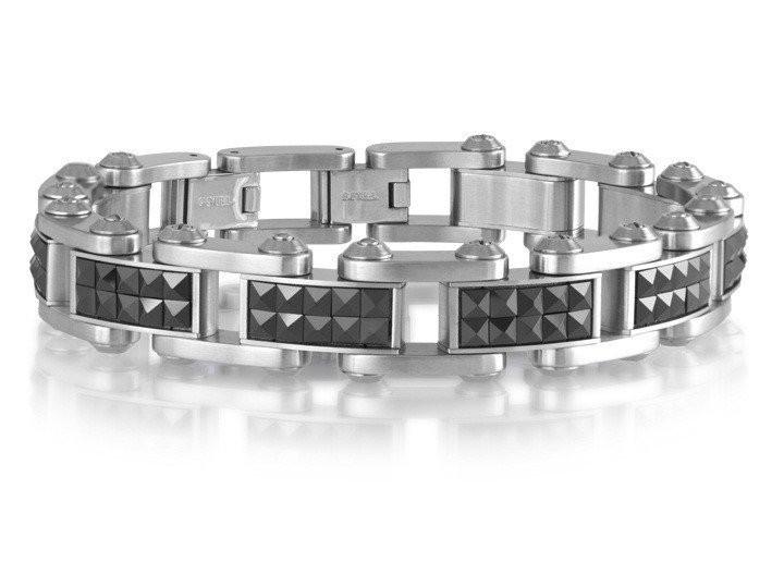 Men's Steel Black Ceramic Studs Bracelet (MVA0100)