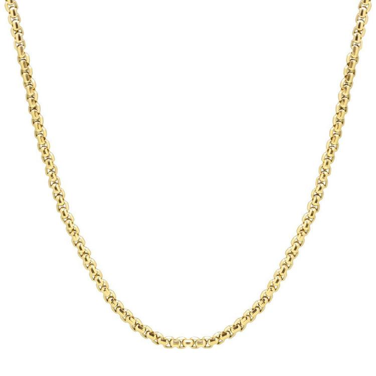 Men's Round Box Gold Steel Necklace (MVA0102)