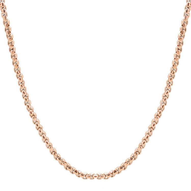 Men's Round Box Rose Gold Steel Necklace (MVA0103)