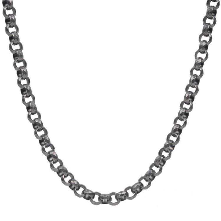 Men's Gun Metal Diamond Cut Rolo Steel Necklace (MVA0104)