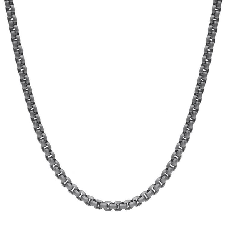 Men's Black Matte Round Box Steel Necklace (MVA0106)