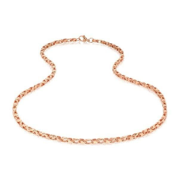 Men's Shiny Rose Gold Steel Necklace (MVA0108)