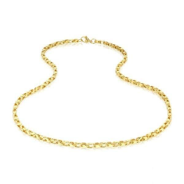 Men's Shiny Gold Steel Necklace (MVA0109)