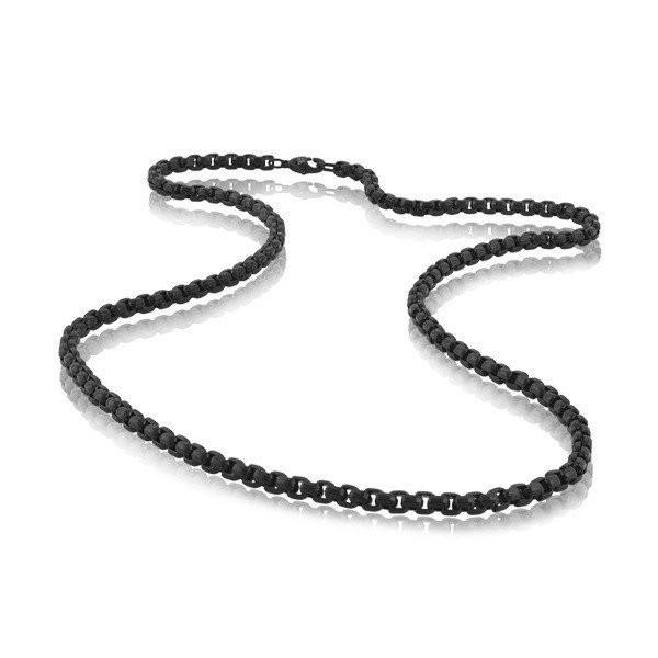 Men's Black Round Box Link Steel Necklace (MVA0110)