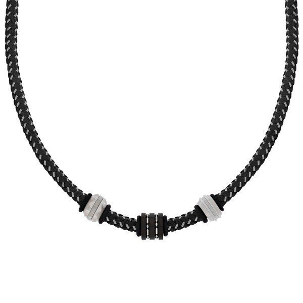 Men's Black Leather Steel Bead Necklace (MVA0111)