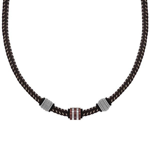 Men's Brown Leather Steel Bead Necklace (MVA0112)