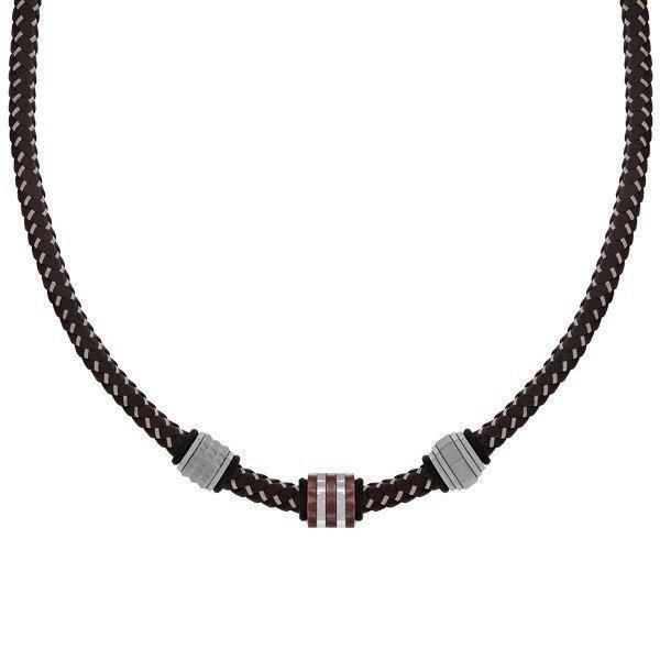 Men's Brown Leather Steel Bead Necklace (MVA0112)