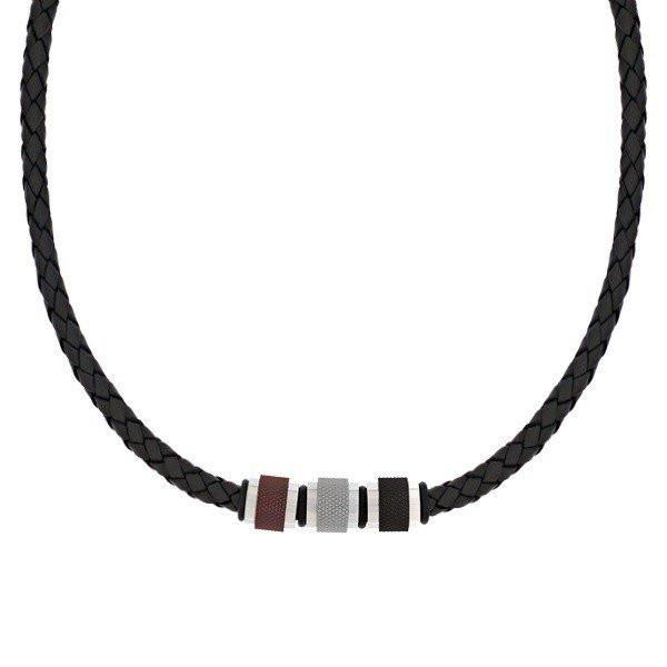 Men's Black Leather Steel Bead Necklace (MVA0113)