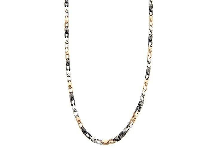 Men's Black, Steel & Rose Gold Necklace (MVA0115)