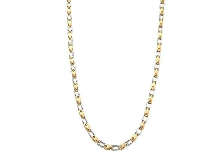 Men's Gold and Steel Necklace (MVA0117)