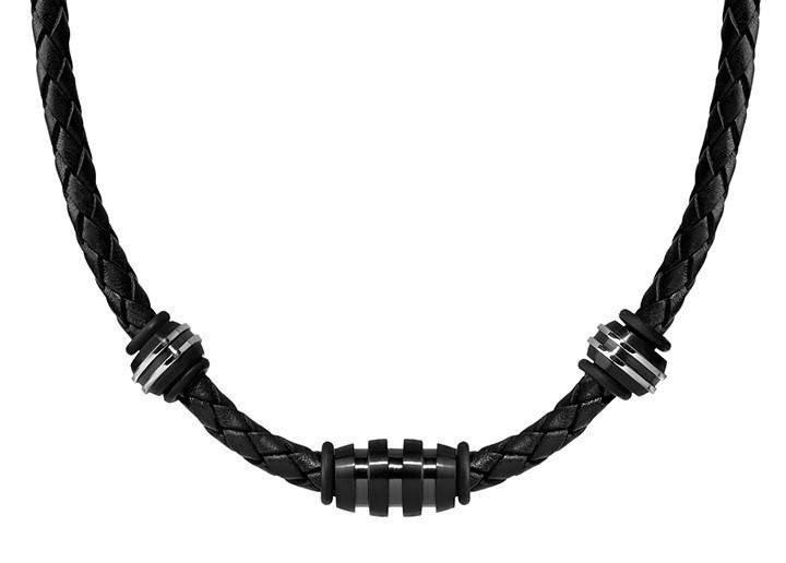 Men's Black Leather Steel Bead Necklace (MVA0118)