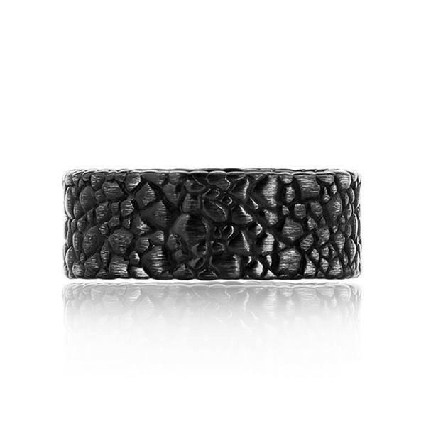 "Men's Black Brushed ""The Rock"" Steel Ring (MVA0128)"