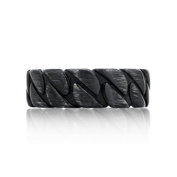 Men's Black Brushed Steel Chain Style Ring (MVA0130)