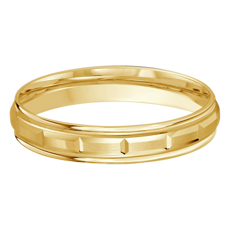 Mens 4 MM squared sectional center all yellow gold satin finish band (MDVB0002)