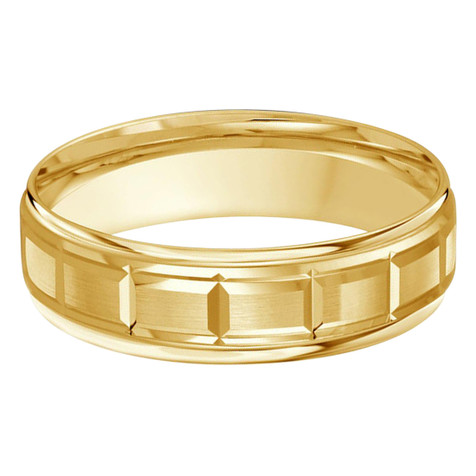 Mens 6 MM squared sectional center all yellow gold satin finish band (MDVB0004)