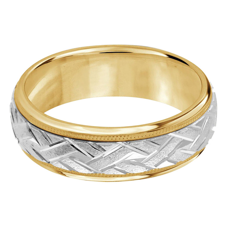Mens 7 MM two-tone gold classic band with a sandblast zig-zag patterned center (MDVB0005)