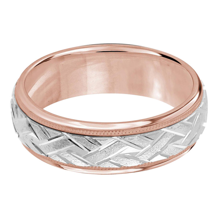 Mens 7 MM two-tone white and rose gold classic band with a sandblast zig-zag patterned center (MDVB0006)
