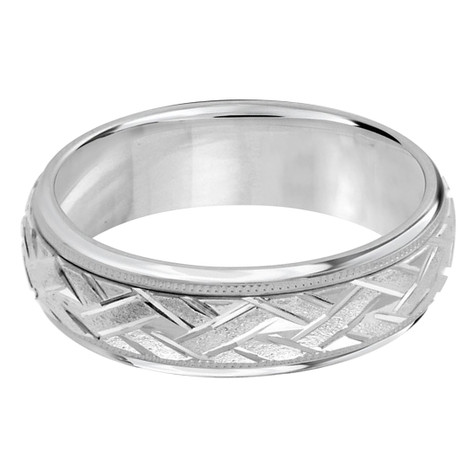 Mens 7 MM all white gold classic band with a sandblast zig-zag patterned center (MDVB0007)