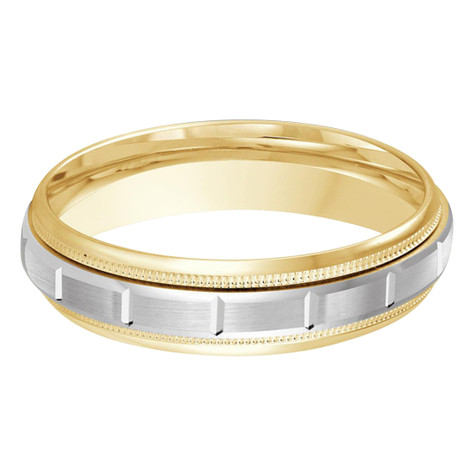 Mens 6 MM two-tone yellow and white gold band with a squared satin center motif (MDVB0008)