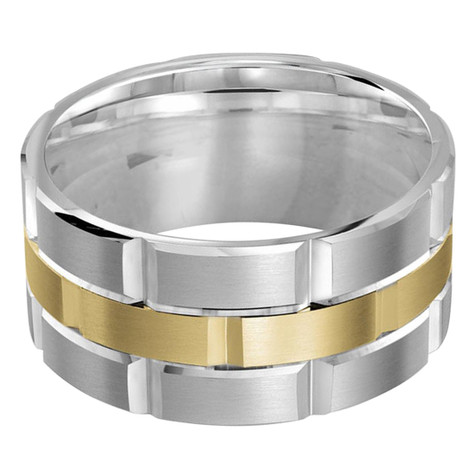 Mens 11 MM white and yellow gold brick motif satin finish band with high polished grooved accents (MDVB0009)