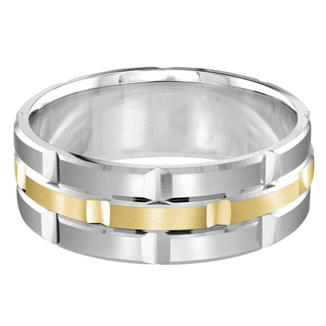 Mens 8 MM white and yellow gold brick motif satin finish band with high polished grooved accents (MDVB0010)