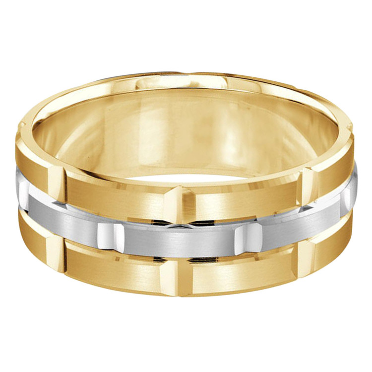 Mens 8 MM yellow and white gold brick motif satin finish band with high polished grooved accents (MDVB0011)