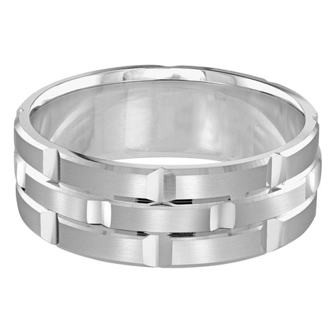 Mens 8 MM all white gold brick motif satin finish band with high polished grooved accents (MDVB0012)