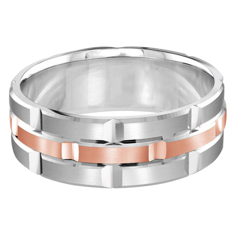 Mens 8 MM white and rose gold brick motif satin finish band with high polished grooved accents (MDVB0013)