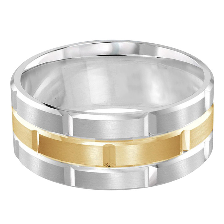 Mens 9 MM white and yellow gold brick motif satin finish band with high polished grooved accents (MDVB0014)