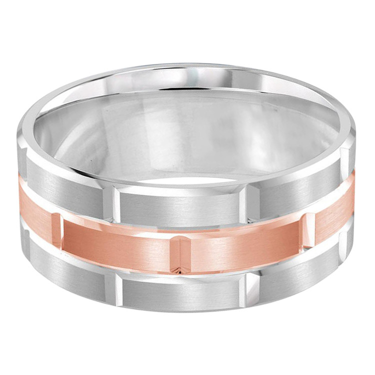 Mens 9 MM white and rose gold brick motif satin finish band with high polished grooved accents (MDVB0015)