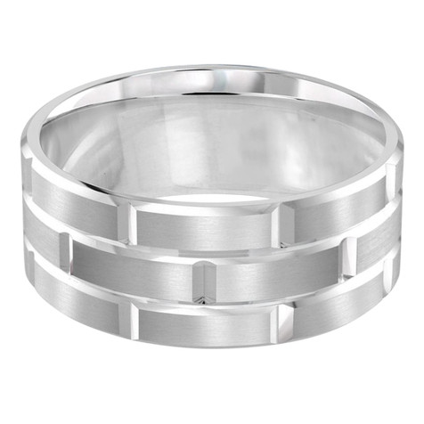 Mens 9 MM all white gold brick motif satin finish band with high polished grooved accents (MDVB0016)