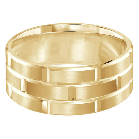 Mens 9 MM all yellow gold brick motif satin finish band with high polished grooved accents (MDVB0017)