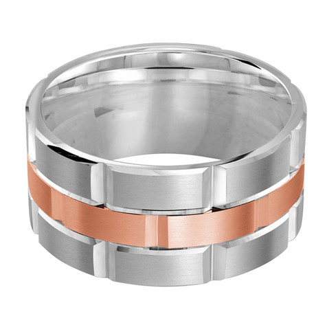 Mens 11 MM white and rose gold brick motif satin finish band with high polished grooved accents (MDVB0018)