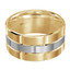 Mens 11 MM yellow and white  gold brick motif satin finish band with high polished grooved accents (MDVB0019)