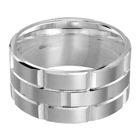 Mens 11 MM all white  gold brick motif satin finish band with high polished grooved accents (MDVB0020)