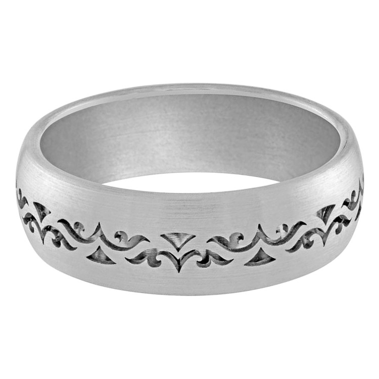 Mens 7 MM band comfortable all white gold solid interior and a patterned cut out exterior (MDVB0025)